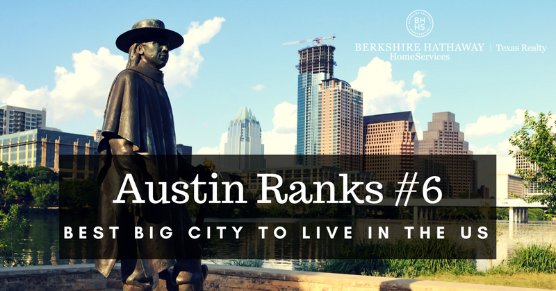 austin ranks #6, best big city to live in the us